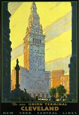 R8 Vintage Cleveland Railways New York Central American Travel Poster A2/A3/A4
