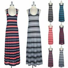 Slight Racerback Sleeveless Tank Maxi Dress Scoop Neck Full Length Long S M L