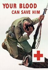 2W38 Vintage WWII Red Cross Give Blood Wartime War Poster WW2 A1 A2 A3 A4