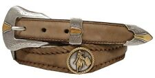 Mens Western Goldfield Barrel Rodeo Racer Concho Leather Cowboy Belt Black Brown