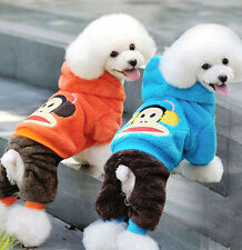 Cute Cartoon Pet Puppy Dog Clothes Monkey Warm Soft Coat Hoodie Jumpsuit Pajamas