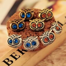 Cute Fashion Vintage Silver/Bronze Owl Rhinestone Studs Charms Dangle Earrings