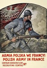W57 Vintage WWI Polish Army In France Recruitment War Poster WW1 A1/A2/A3/A4