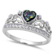 Rainbow Topaz Heart & Cz Crown .925 Sterling Silver Ring Sizes 5-10
