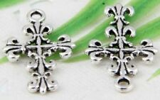 Wholesale 30/68Pcs Bronze、Silver Plated(Lead-Free)Cross Charms Pendant 23x14mm