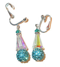 CLEAR AB & TEAL Crystal Earrings Silver Artemis Disco Ball Swarovski Elements