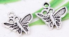 Wholesale 50/120Pcs Tibetan Silver(Lead-Free)Butterfly Charms Pendants 15x14mm