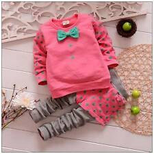 2PC New baby kids outerwear+long Pants Set Clothes cute bowknot size:1-5 years