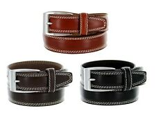 Mens Designer Italian Leather Casual Dress Double Stitch Golf Belt 35mm 3 Colors