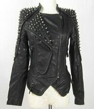 New Womens Punk Spike Studded Shoulder Leather Jacket Coat Motorcycle Jacket