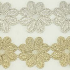 Flower Metallic Embroidered Venise Lace Trim #289 - Bridal Wedding Lace Trim
