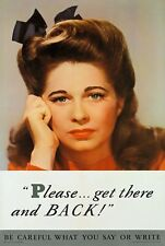 WB30 Vintage WW2 Get There And Back Careless Talk WWII War Poster A2/A3/A4