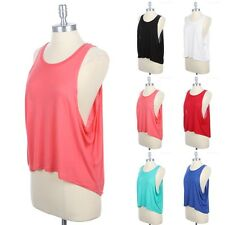 Solid High Low Hem Scoop Neck Tank Top With Dropped Armhole Casual Rayon S M L