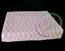 "ae320ts Pink Off White Zig Zag""S"" Cotton Canvas 3D Box Cushion Cover Custom Size"