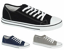 93Q MENS CANVAS CASUAL TRAINERS PLIMSOLES PLIMSOLLS SHOES LACE UP PUMPS UK 7-12