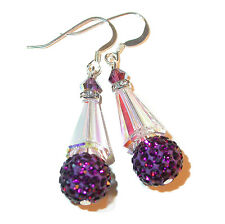 CLEAR AB & PURPLE Crystal Earrings Silver Artemis Disco Ball Swarovski Elements