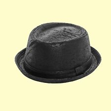 "Jet Pork Pie Hat-Trilby Soul Indi Ska Hat- ""Leather Look"" Breaking Bad BLACK Hat"