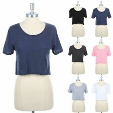 High Low Hem Cropped Boxy Top Comfy Fit Short Sleeve Round Neck Cotton S M L