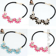 New Fashion Crystal Rhinestone Sun Flower Vintage Bib Chunky Necklace