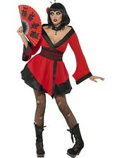 Ladies Japanese Gothic Geisha Girl Halloween Outfit Fancy Dress Costume