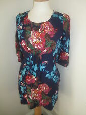 JOULES Wickmere Navy Floral Tunic Top Dress Sz 12 14 & 16 Free UKP&P RRP£59.95