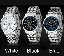 Fashion Men's Watch Luxury Stainless Steel Band Sport Quartz Analog Wrist Watch