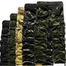 New Mens Cotton Casual Military Army Cargo Camo Solid Combat Work Pants Trousers