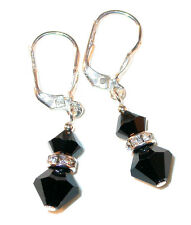 JET BLACK Crystal Earrings Sterling Silver Swarovski Elements Pierced & Clip-on