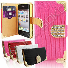 LEATHER MAGNETIC CRYSTAL DIAMOND BLING WALLET CASE FLIP COVER FOR APPLE  SAMSUNG