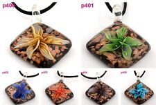 JT97 CHARM Flower Murano Art Glass Beaded Rhombus lampwork Pendant necklace p401