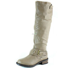 Women Mid Calf Ankle Strap Buckle Knee High Cowboy Riding Military Combat Boot
