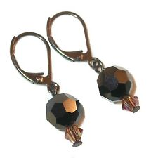 SWAROVSKI Elements CRYSTAL EARRINGS Black NUT TOPAZ Leverback