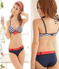 New Navy Blue Stripes Bra set Push Up Cute Bikini set lingerie underwear B Cup