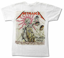 METALLICA JUSTICE WHITE T SHIRT NEW OFFICIAL ADULT JUSTICE FOR ALL