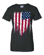 JUNIORS USA FLAG T-SHIRT AMERICAN Ripped Distressed Flag PATRIOTIC PRIDE TEE