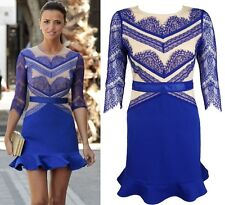 New Celebrity Blue & Nude Eyelash Lace 3/4 Sleeves Bodycon Skater Mini Dress