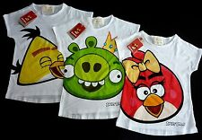 ZARA Girls ANGRY BIRDS T-shirt RED YELLOW GREEN Bad Piggy Top 3-12y £10.99