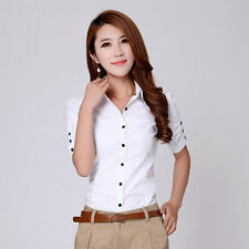 Office Lady Turn-down Collar Blouse Size S-2XL Women Slim Short Shirt H1206