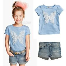 Kids Baby Girl 2 Piece Clothes Sets Lots Denim Shorts Outfit Clothing 1-7Y FT283
