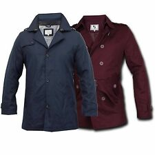 Men Jacket Brave Soul Mac Trench Coat Military Double Breasted Belt Casual New