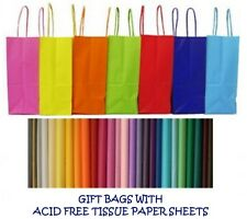 PARTY GIFT BAGS x 8 - WITH TISSUE PAPER - BIRTHDAY/WEDDINGS/CHRISTENINGS