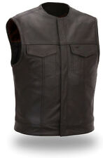Mens Black Leather Motorcycle Biker Vest with Concealed Snaps