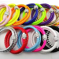 NEW Leather Wrap double Wristband Cuff Punk Magnetic Rhinestone Buckle Bracelet