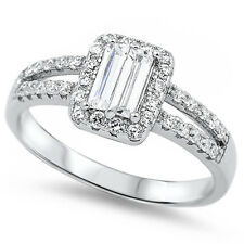 Emerald Cut CZ split Band Engagement .925 Sterling Silver Ring Sizes 4-10