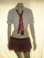 Tartan Tutu señoras Rojo Tartan Tutu & Tie Conjunto Sexy Scottish School Girl Hen party