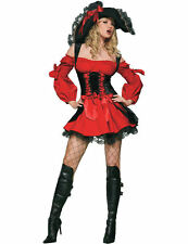 Adult Sexy Vixen Pirate Costume Red And Black Pirates Fancy Dress Outfit