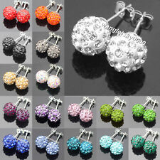 Many Colors Sparkle Round Shamballa Crystal Ball Stud Earrings For Wedding Party