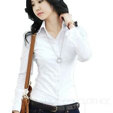 Button Down Shirts Long Sleeve Shirt Work Top Smart Blouse Ladies Office Tops