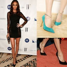 Ladies Ankle Strap Pumps Stiletto Pointy Toe Cocktail Party Prom High Heel Shoes