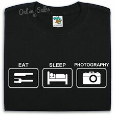 Eat Sleep Photography T Shirt Mens Womens Kids Photographer Camera Pictures